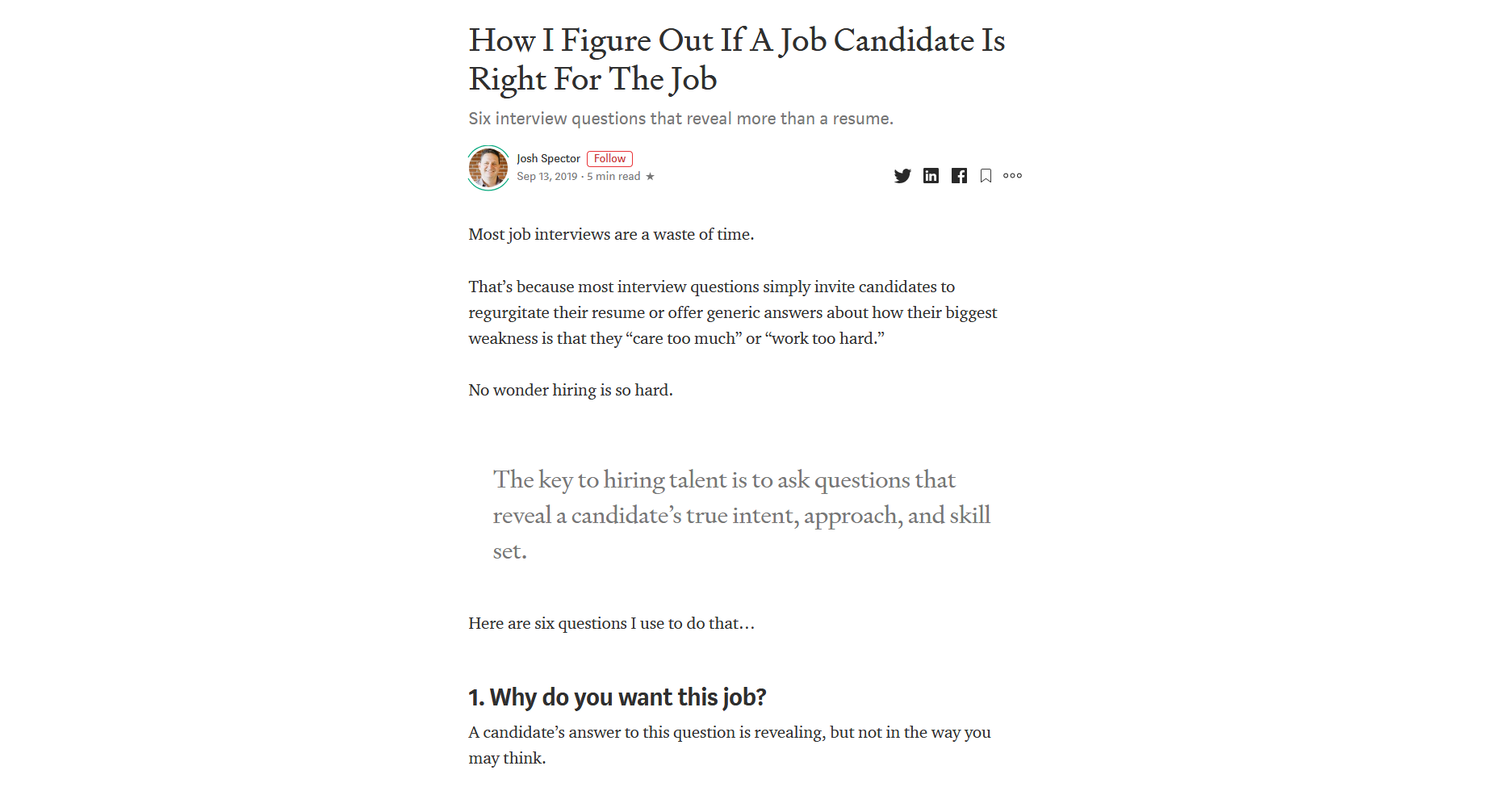 How I Figure Out If A Job Candidate Is Right For The Job — For The Interested