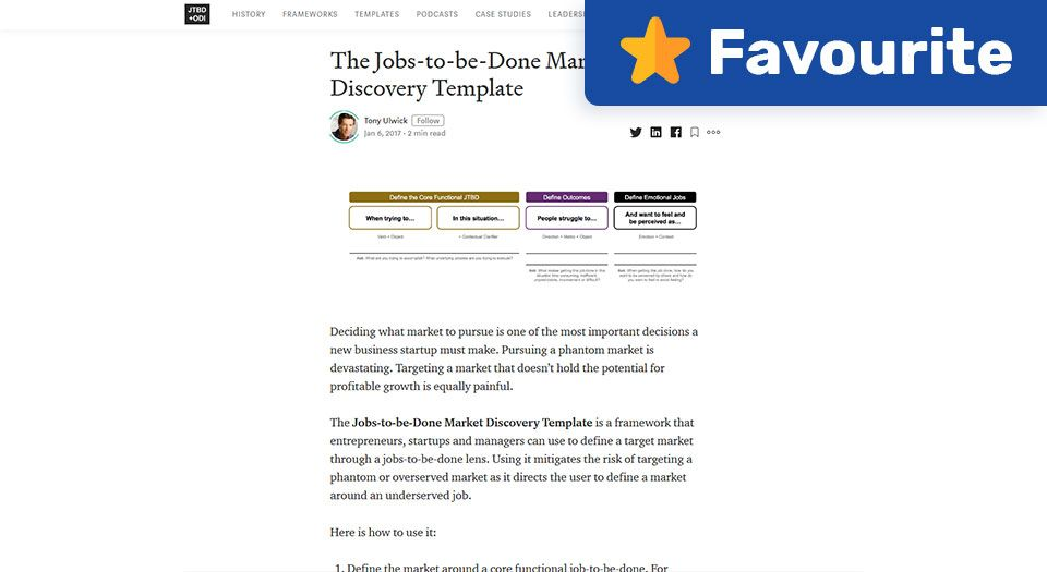 The Jobs-to-be-Done Market Discovery Template — JTBD + Outcome-Driven Innovation