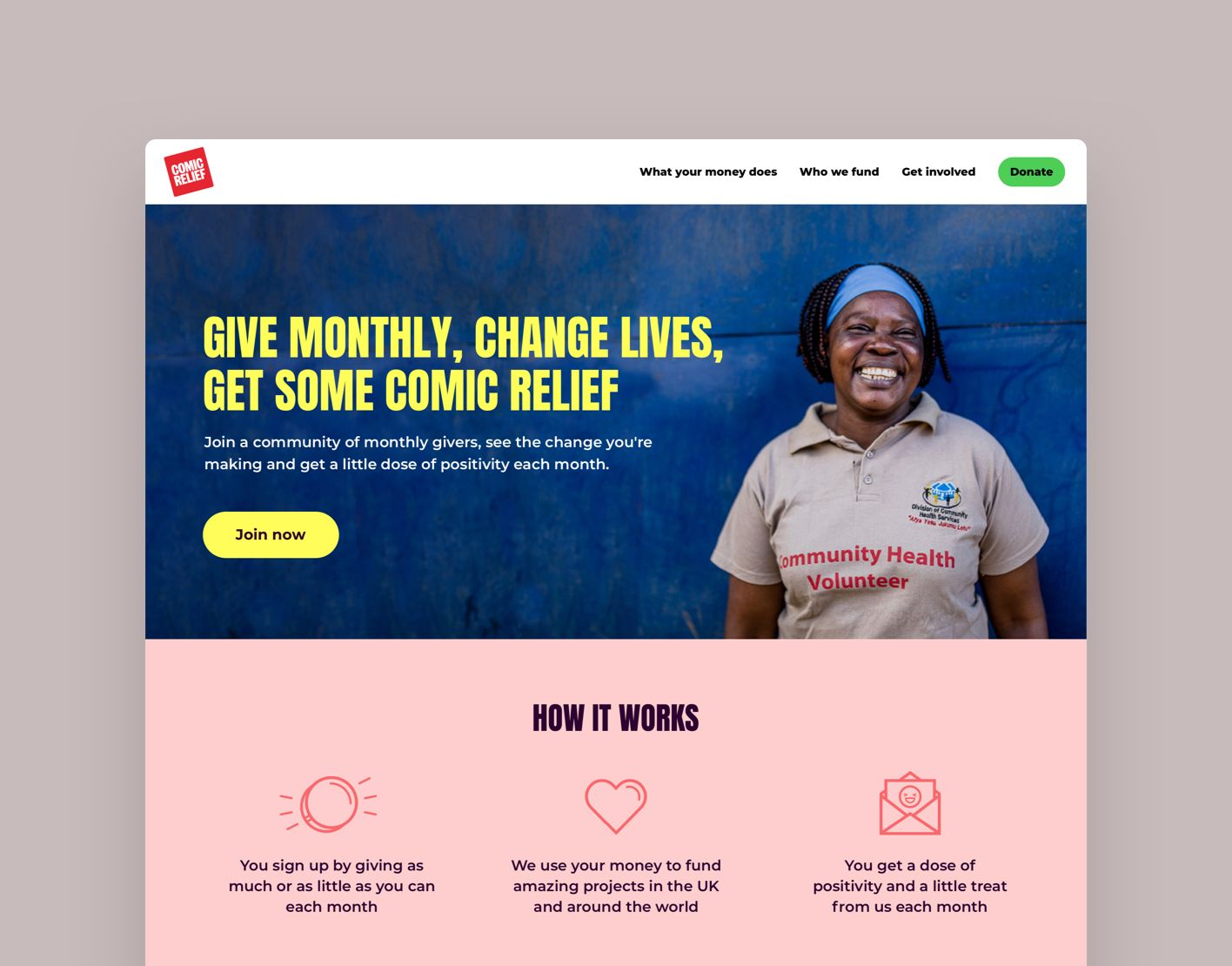 A landing page for a new community of monthly givers.
