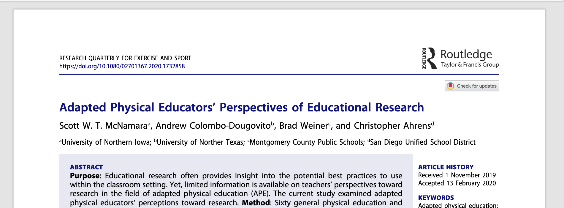 Adapted physical educators perceptions of educational research