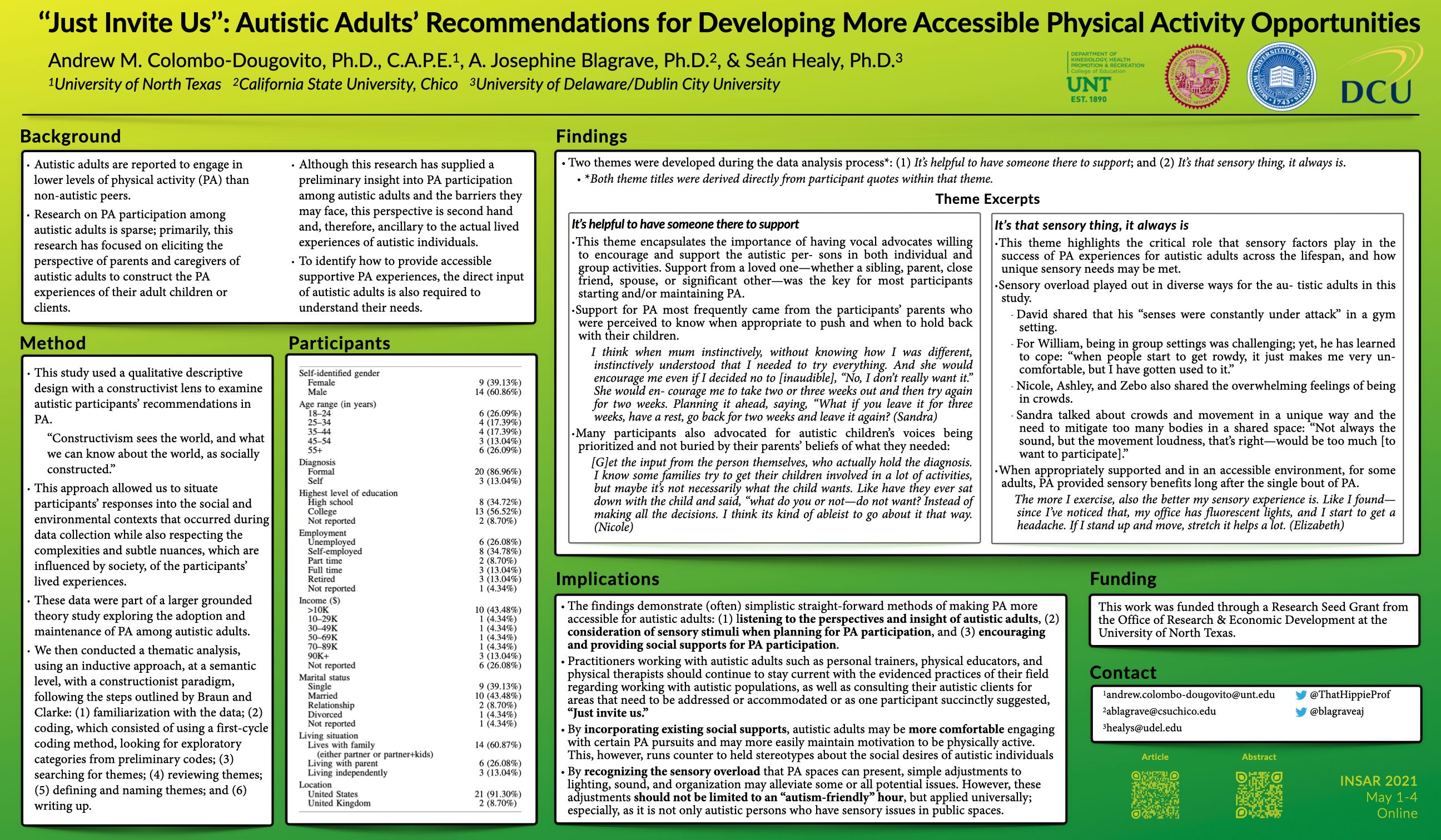 """""""Just invite us"""": Autistic adults' recommendations for developing more accessible physical activity opportunities"""