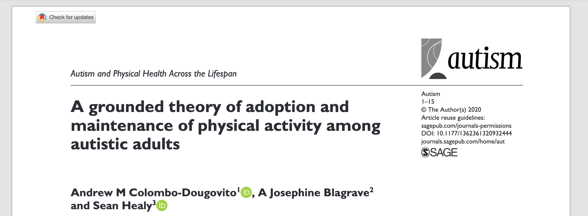 A grounded theory of adoption and maintenance of physical activity among autistic adults