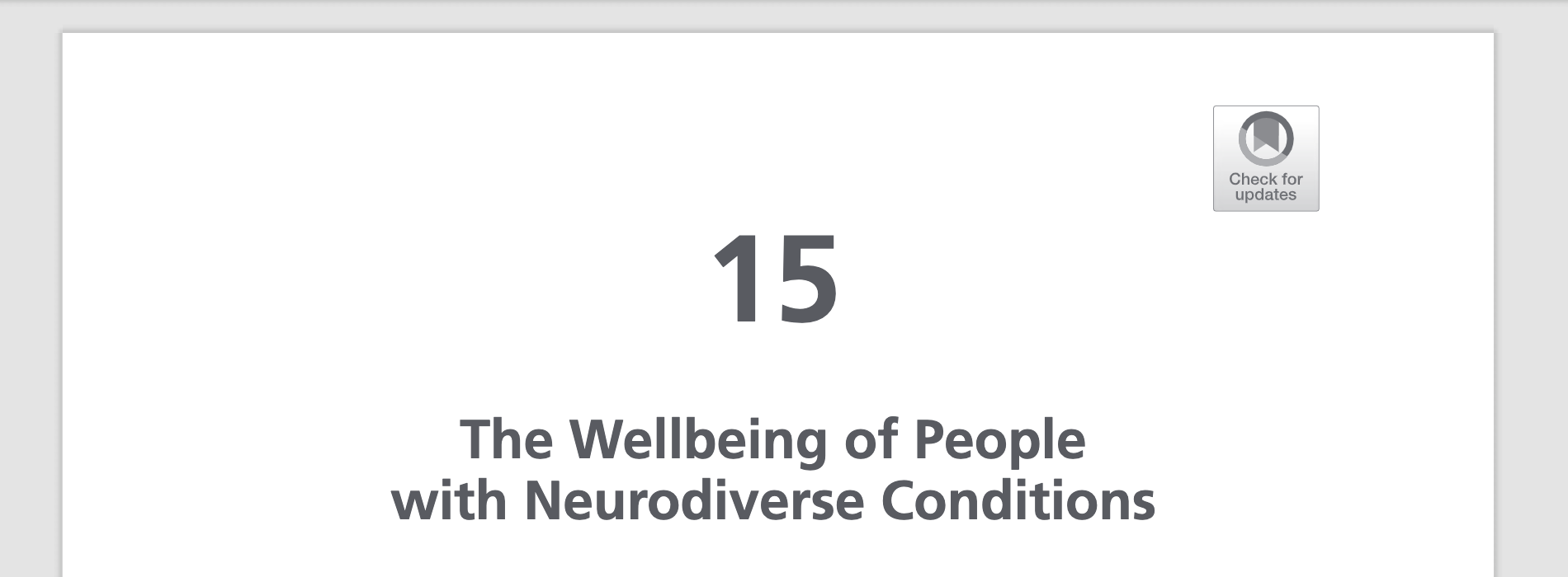 Wellbeing of People with Neurodiverse Conditions