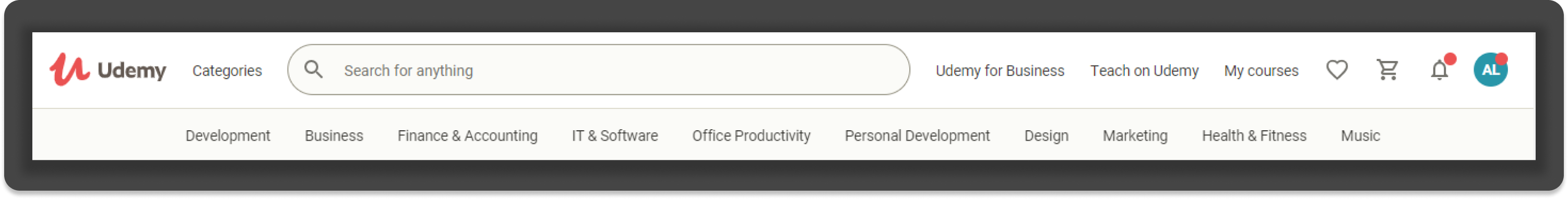 Udemy's current navigation menu incorporates content for four user types, resulting in a total lack of visual hierarchy.