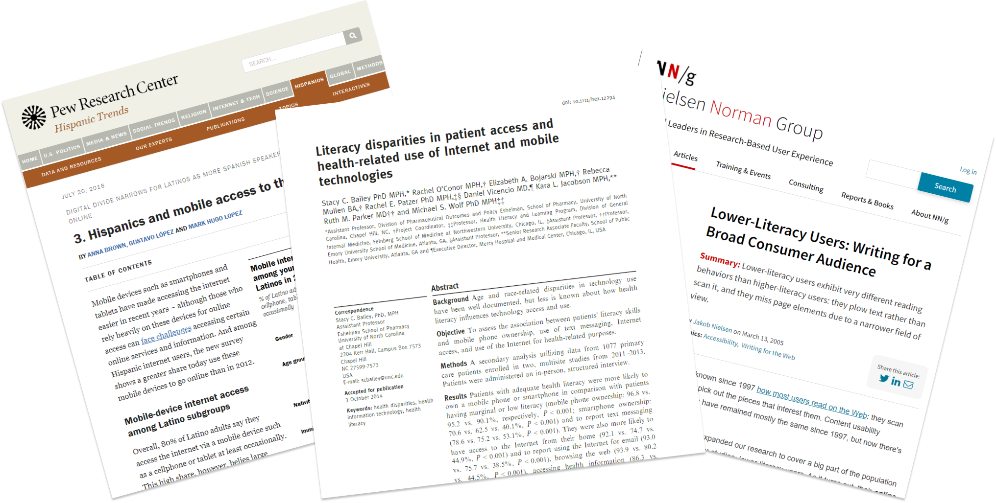 A sampling of reviewed research articles, sourced from Pew, Nielsen and academic journals
