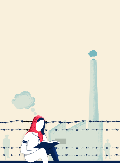Illustration : Woman reading in the Nazi ghetto by Manivarma