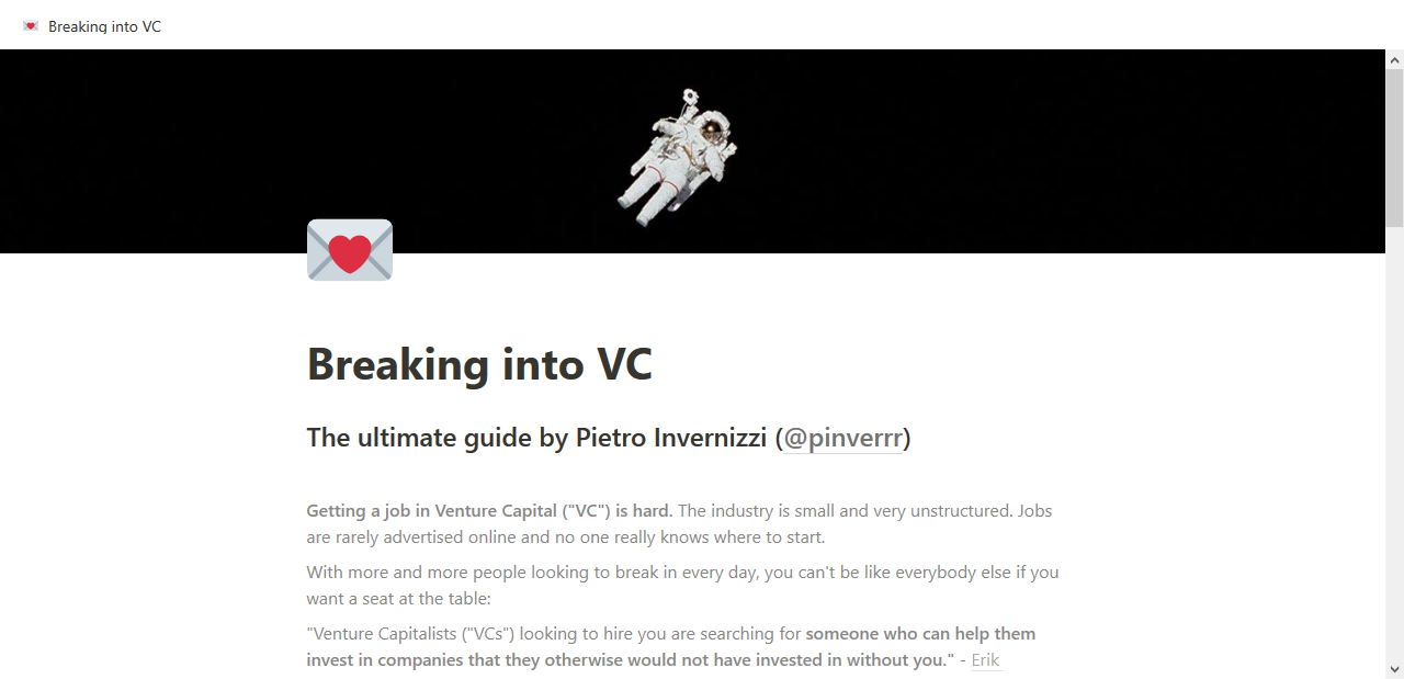 Breaking into VC