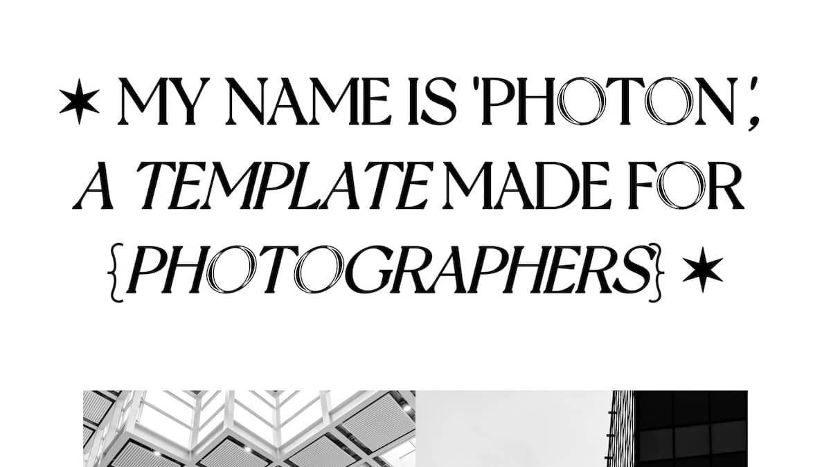 Photon — Photography Site Template