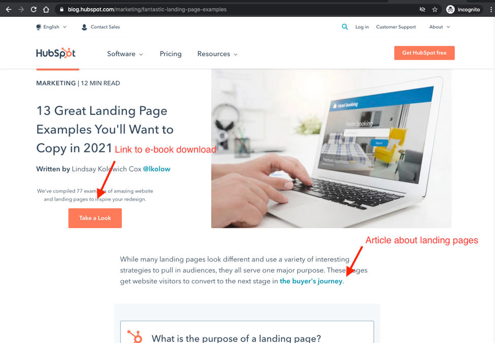 Hubspot's number one ranking page for 'Landing page examples'