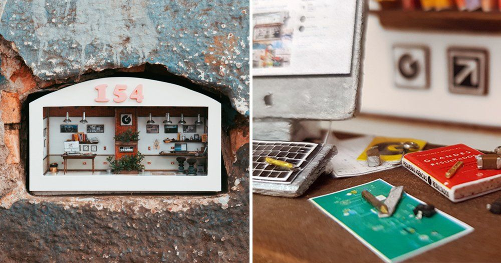 world's tiniest office is built into a hole in the wall in são paulo