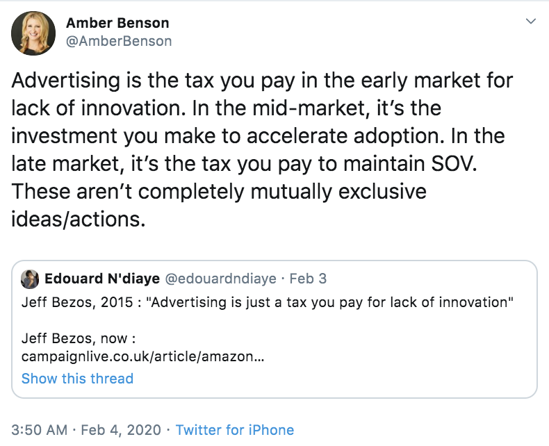 Advertising is a tax you pay...