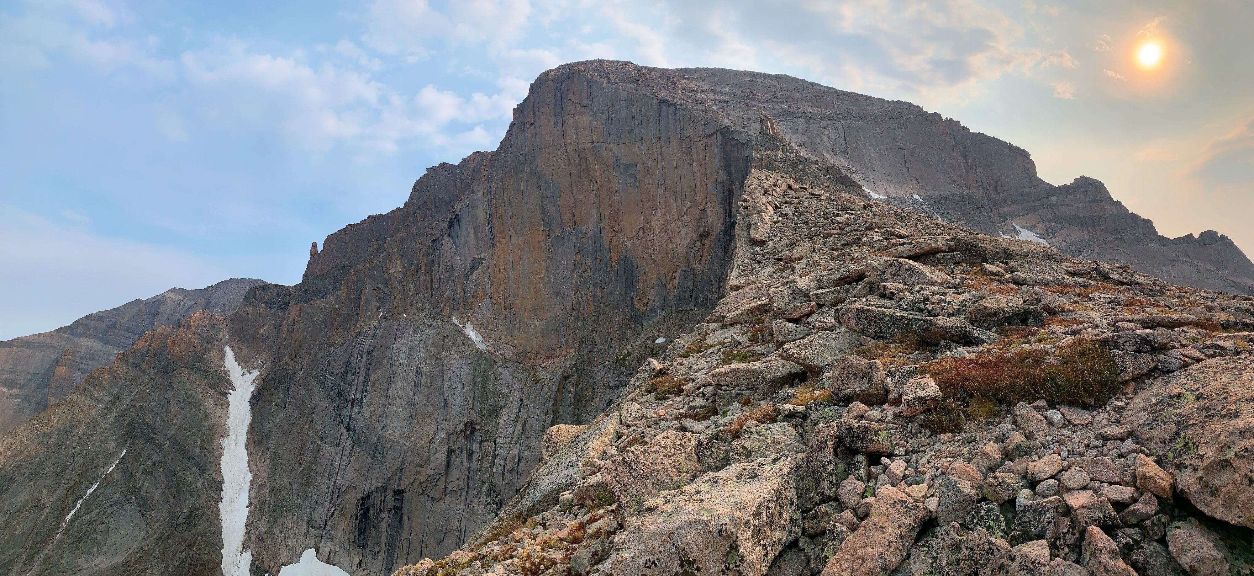 A view of The Diamond, the face of Longs Peak, the furthest north 14,000+ foot peak in Colorado. We backpacked this peak and climbed this ridge the night before our summit via the Class 3 approach, also known as the Keyhole Route.
