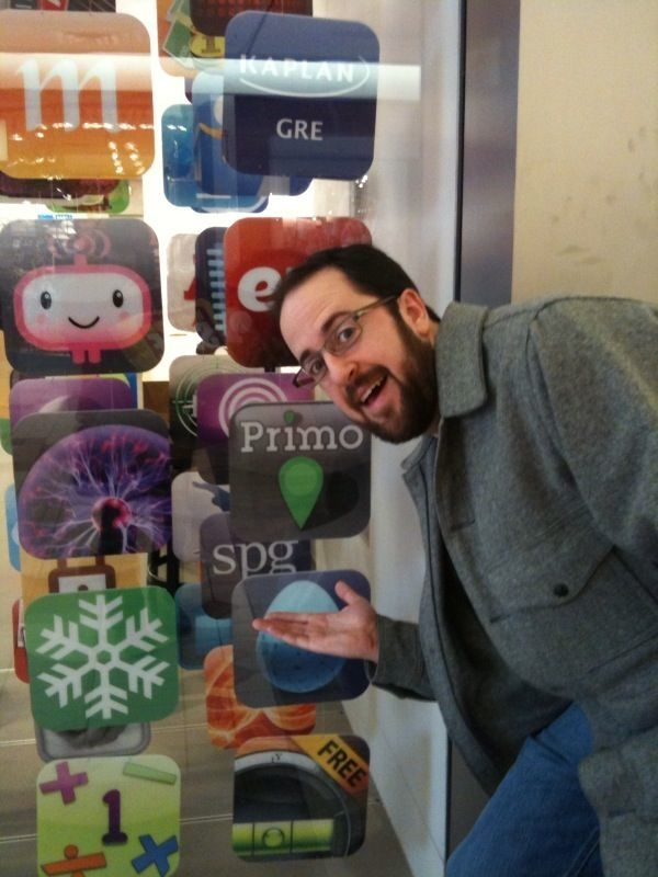 Our designer, David Schaffer, admiring his work in the window of an Apple Store in NYC.