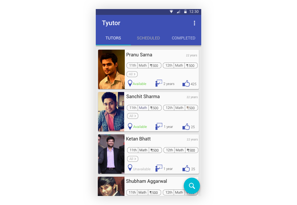 App homepage for students