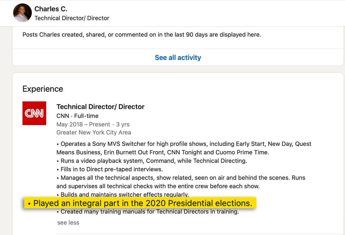 Charles's LinkedIn profile showing his experience at CNN, highlighting his work on CNN's coverage of the 2020 Presidential Election.