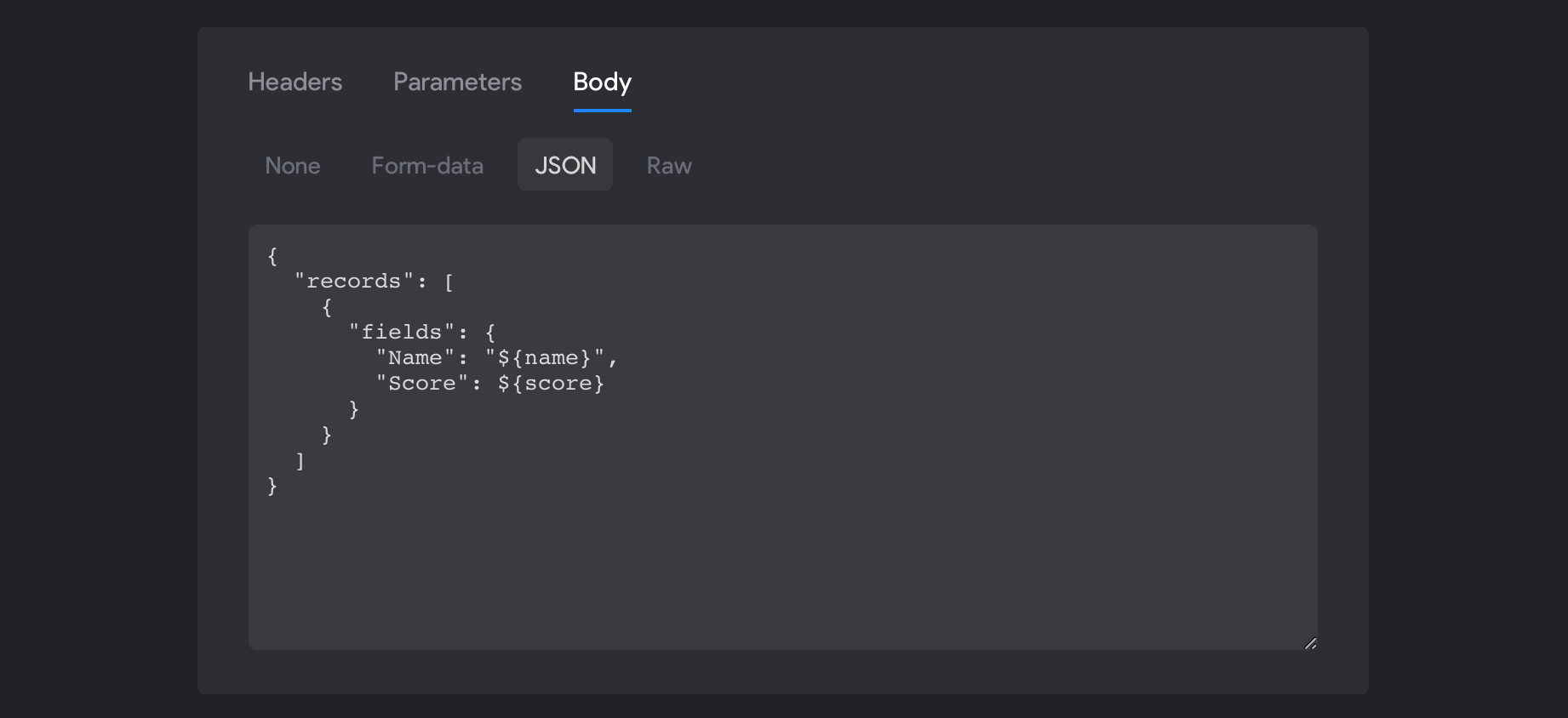 Airtable POST request: Body input