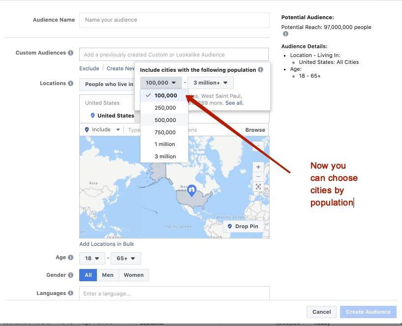 Target cities by population with facebook ads!